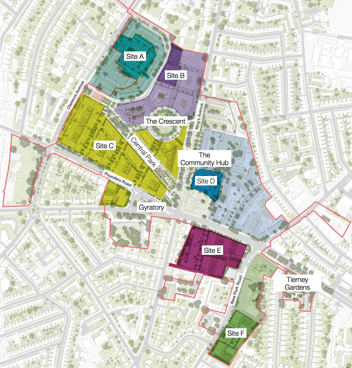 Map showing layout of Clapham Park site